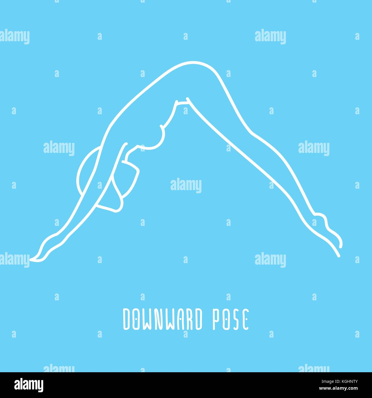 Yoga Pose Flat Line Icon Simple Sign Of Woman In Downward Dog White Outline Logo On Blue