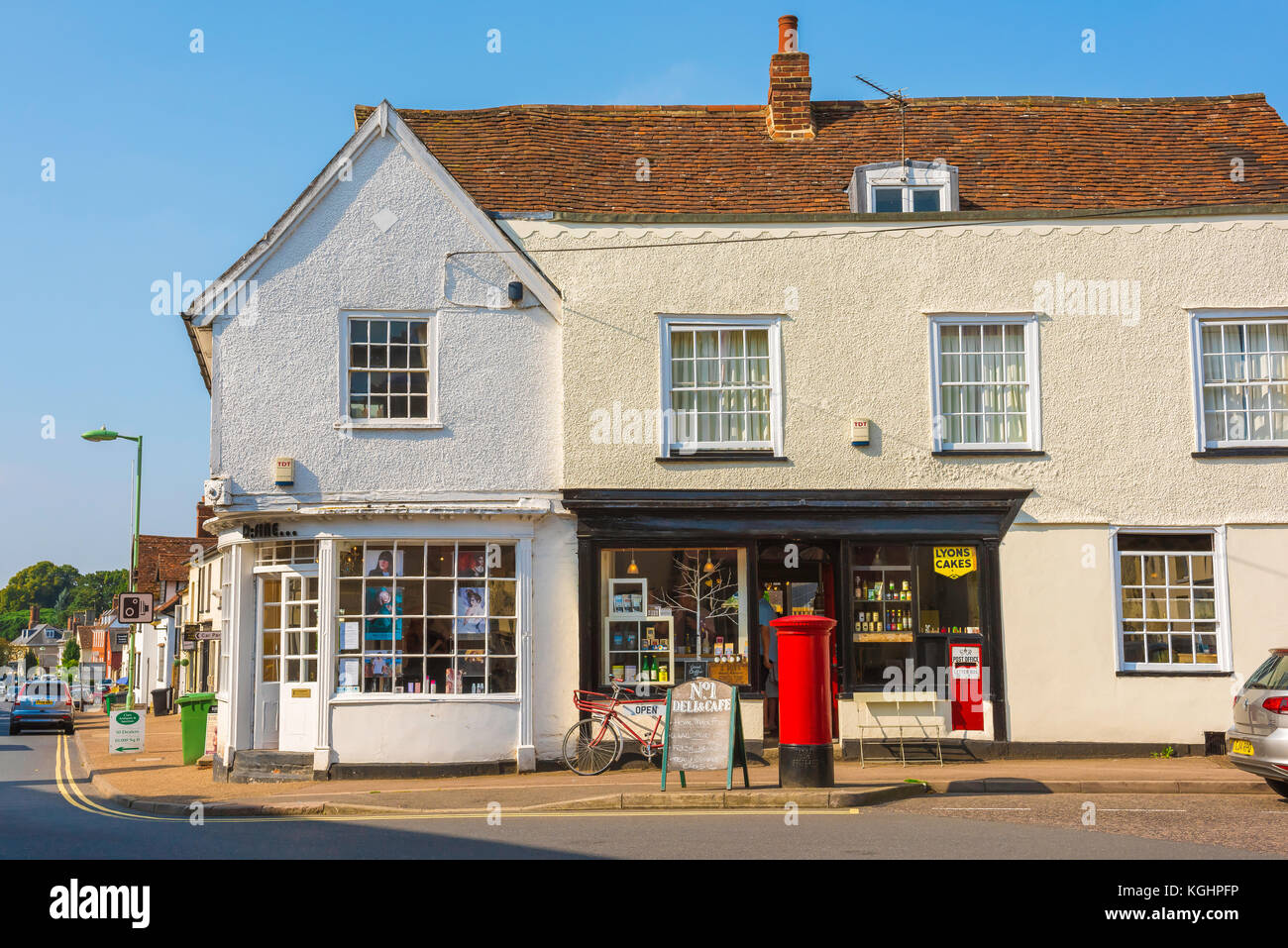 Village shop UK, traditional village shops along the High Street in the historic Suffolk village of Clare, UK Stock Photo