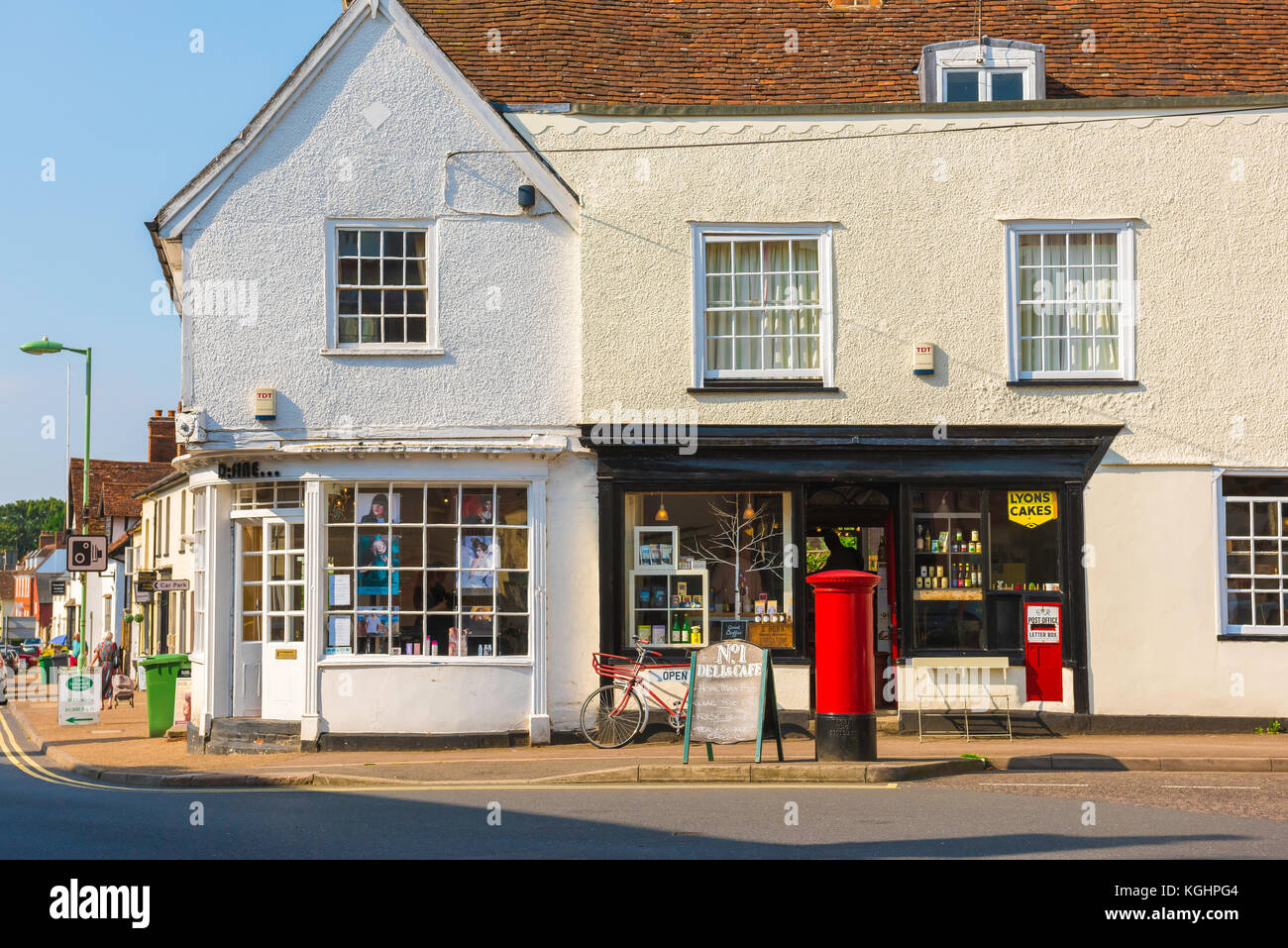 Clare Suffolk UK, traditional village shops along the High Street in Clare, Suffolk, England, Babergh district, - Stock Image