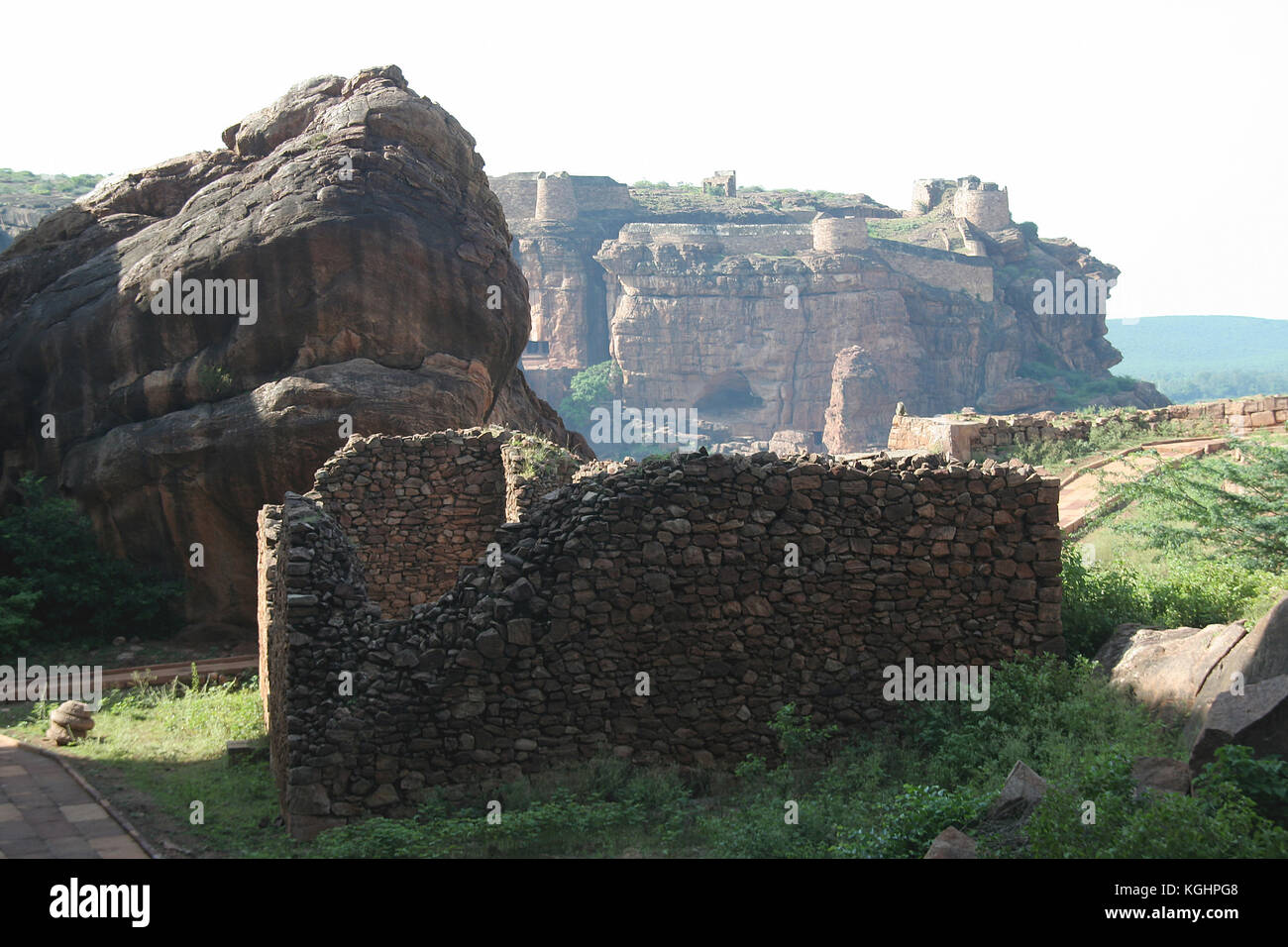 View of southern hill and fort from northern hill at Badami, Karnataka, India, Asia Stock Photo