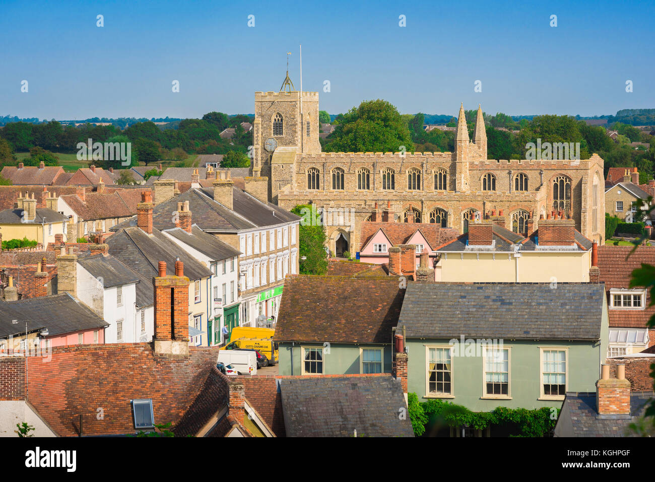 Clare Suffolk UK, aerial view of the village of Clare with its historic medieval church in Suffolk, England, Babergh - Stock Image