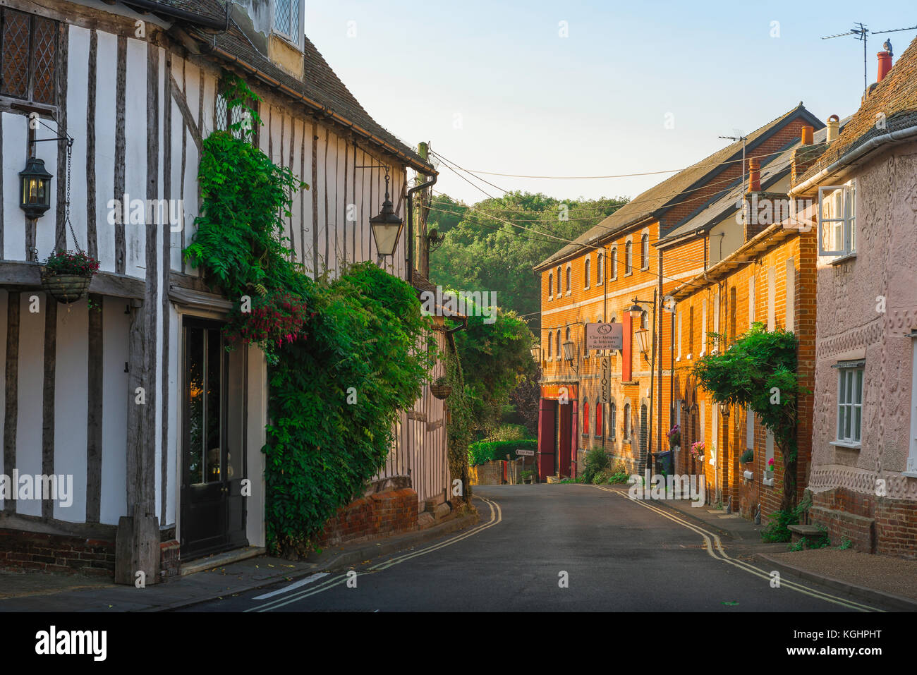 England village street, medieval and 18th century buildings in Maltings Lane in the village of Clare, Suffolk, England, - Stock Image