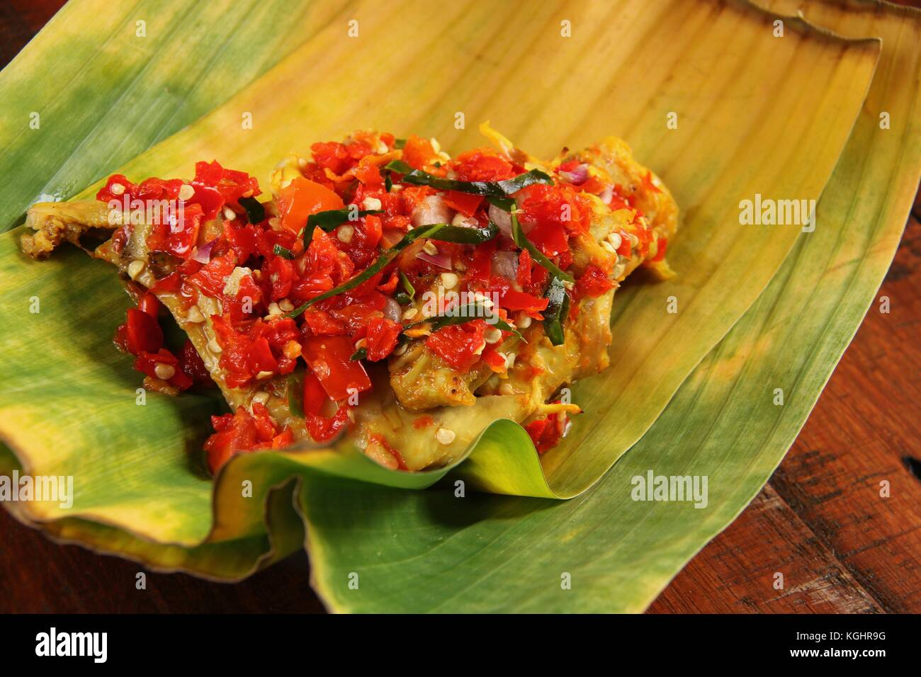 Ayam Balado, Padang Chicken with Crushed Red Chili Peppers Stock Photo