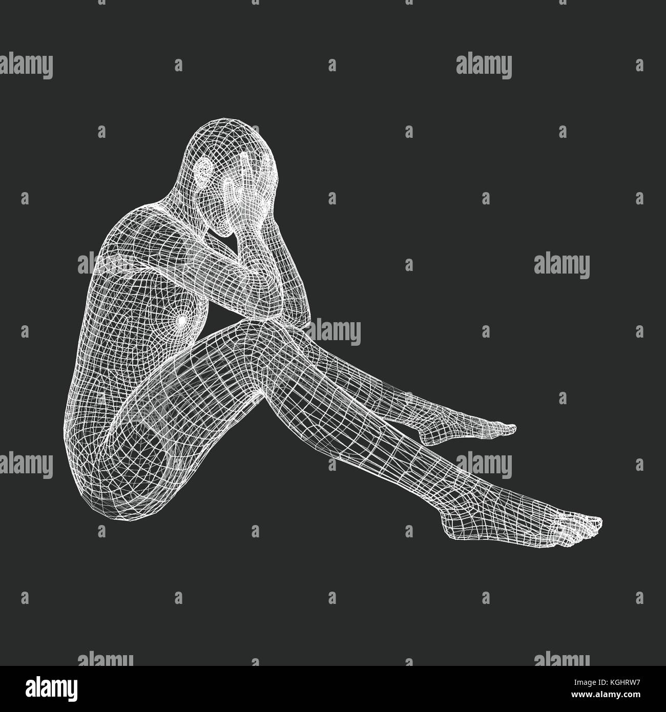 Miserable Depressed Man Sitting and Thinking. Man in a Thinker Pose. 3D Model of Man. Vector Illustration. - Stock Vector