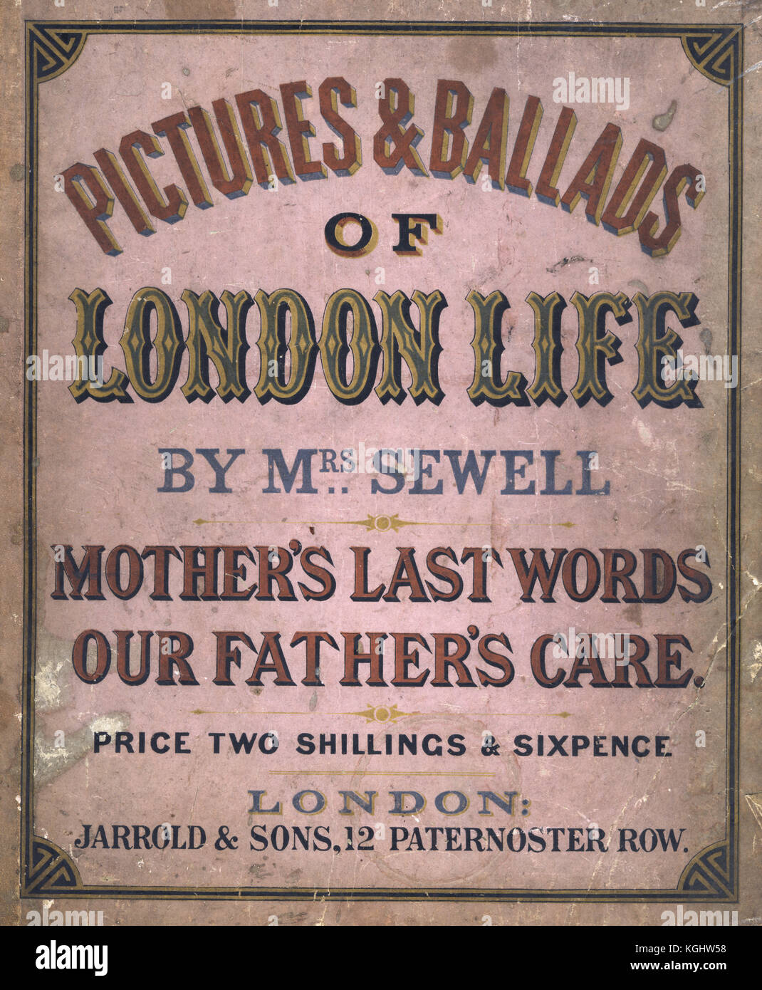 Front cover of Pictures and Ballads of London Life by Mrs Sewell - Stock Image
