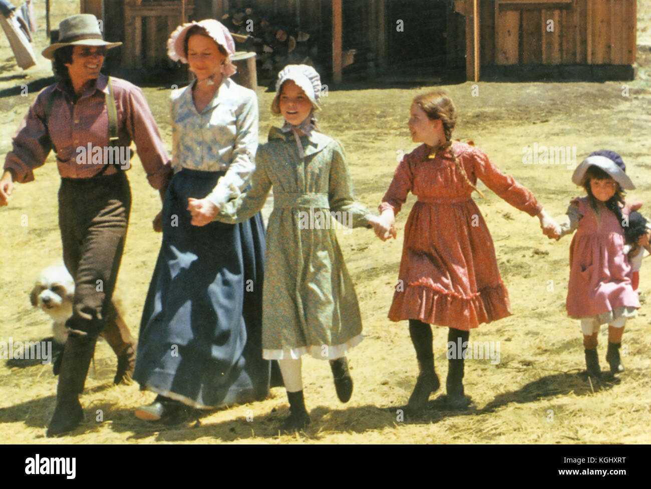 LITTLE HOUSE ON THE PRAIRIE NBC Western TV series with from left: Michael Landon, Karen Grassie, Melissa Sue Anderson, - Stock Image