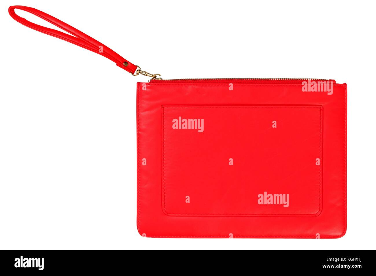 Small red cocktail handbag isolated on white background - Stock Image