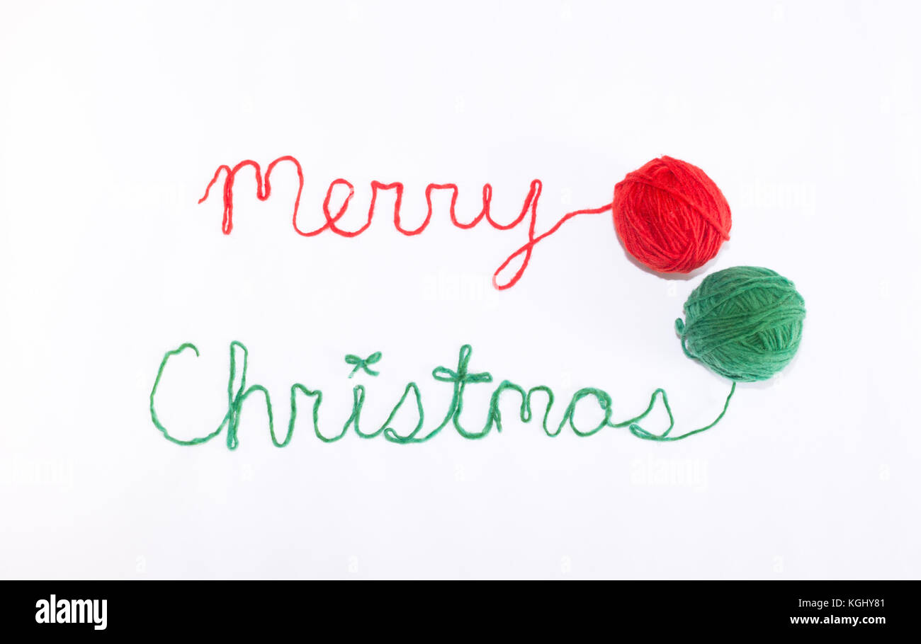 Merry Christmas In Cursive.Merry Christmas Written In Cursive With Red And Green Yarn