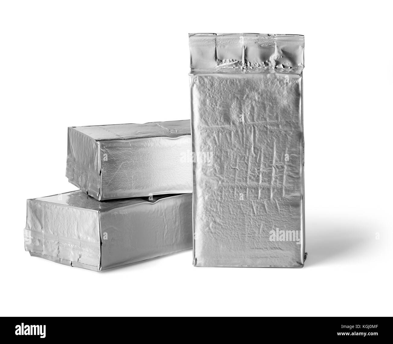 blank silver product packaging on white background with clipping path - Stock Image