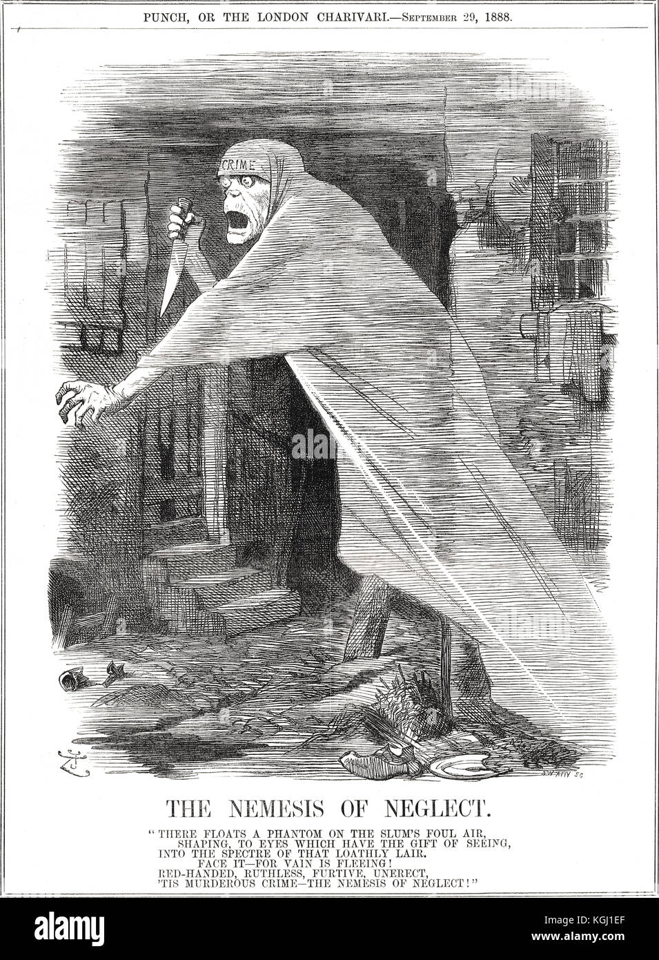 Jack the Ripper Punch Cartoon 5, 1888, The nemesis of neglect - Stock Image