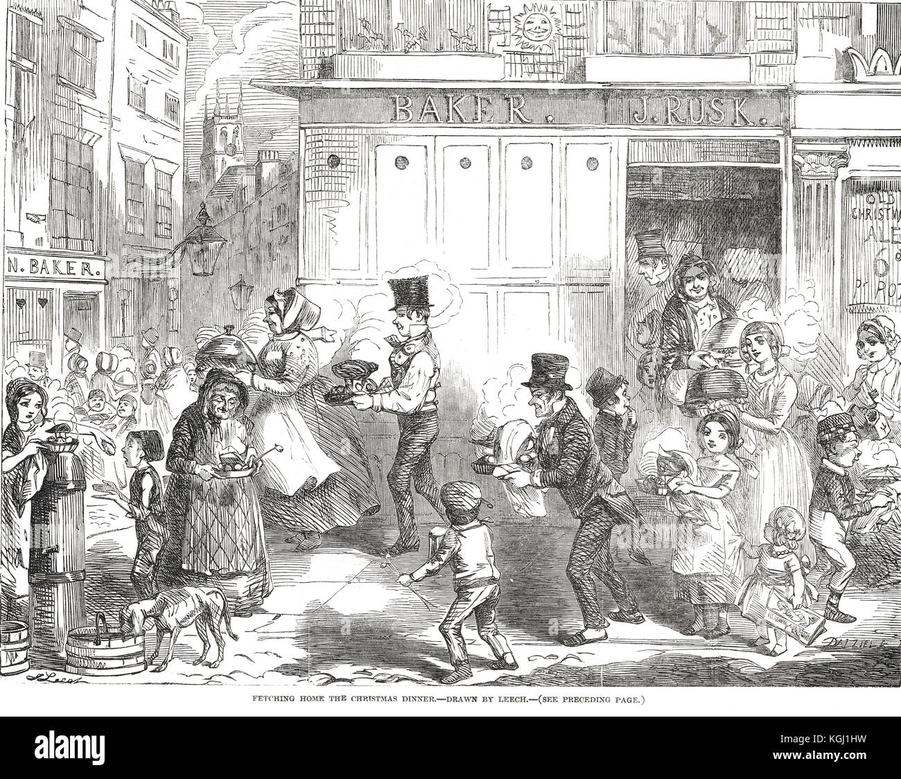 Fetching home the Christmas Dinner 1848 - Stock Image