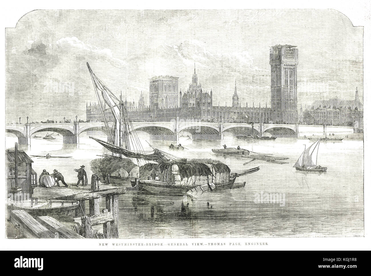 New Westminster Bridge & Palace showing Big Ben clock tower in construction 1855 - Stock Image