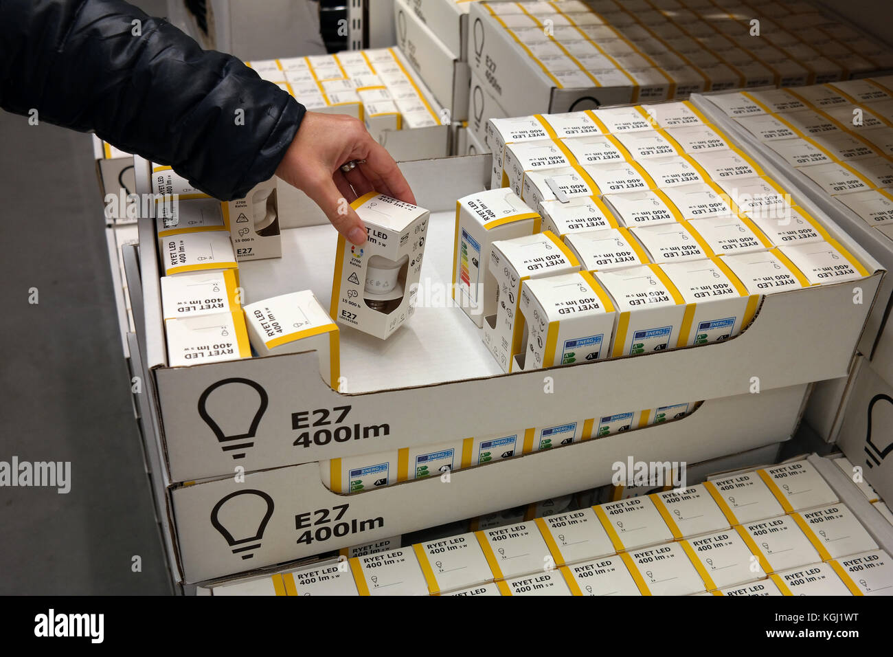 LED lamps in a Ikea store - Stock Image