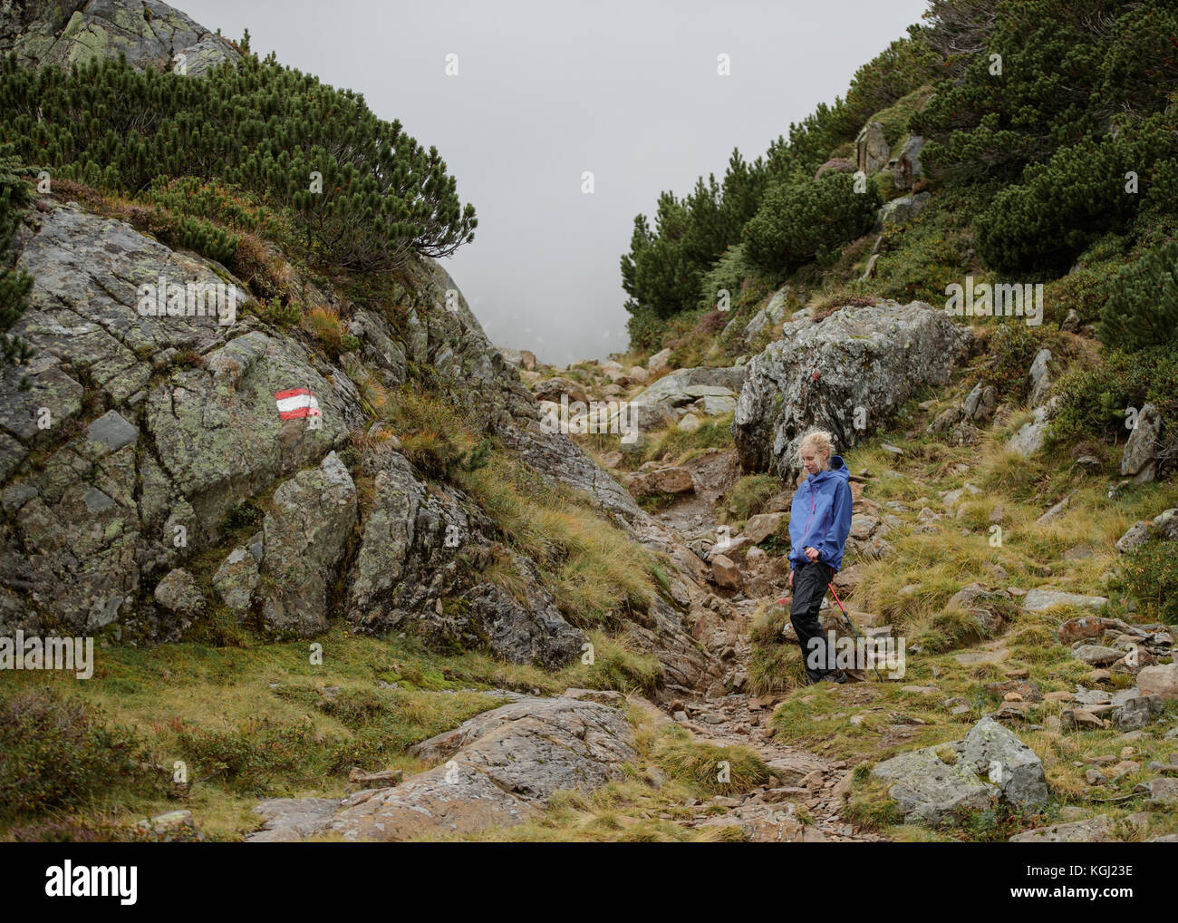 A woman hiking in the Austrian Mountains - Stock Image