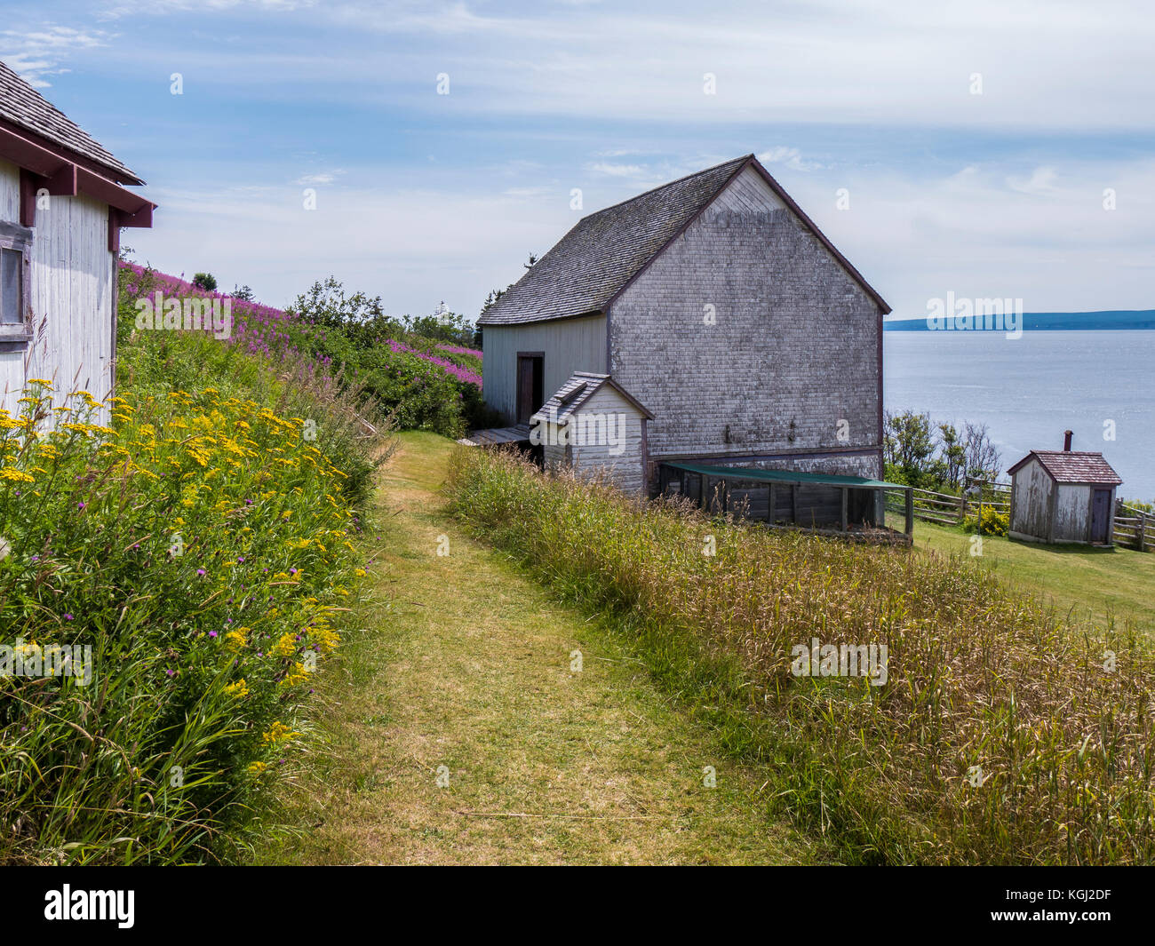 Buildings at L'Anse Blanchette, Forillon National Park, Gaspe Peninsula, Canada. - Stock Image