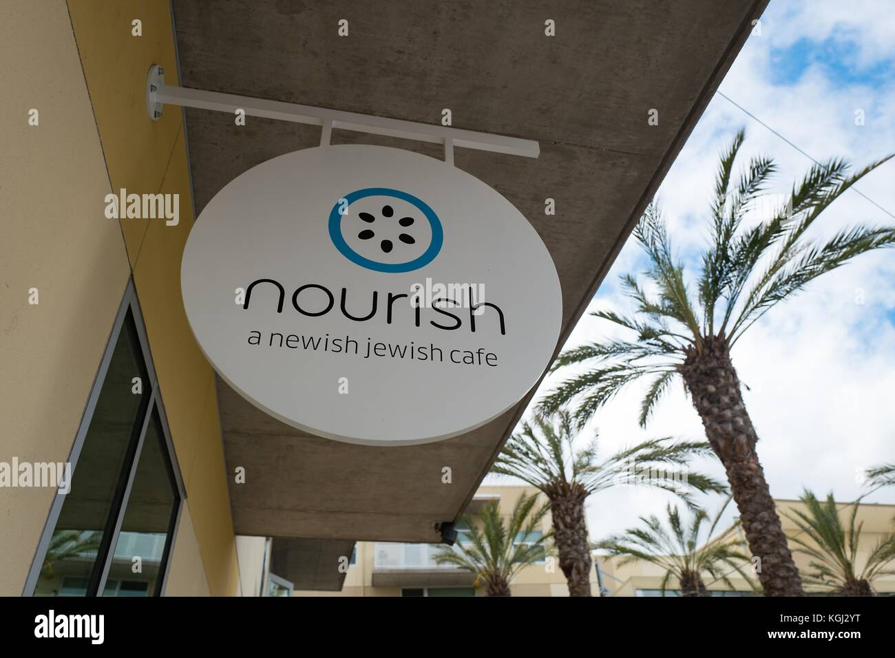 Sign for Nourish, with tagline reading 'A Newish Jewish Cafe', a Kosher restaurant in Silicon Valley, Palo - Stock Image