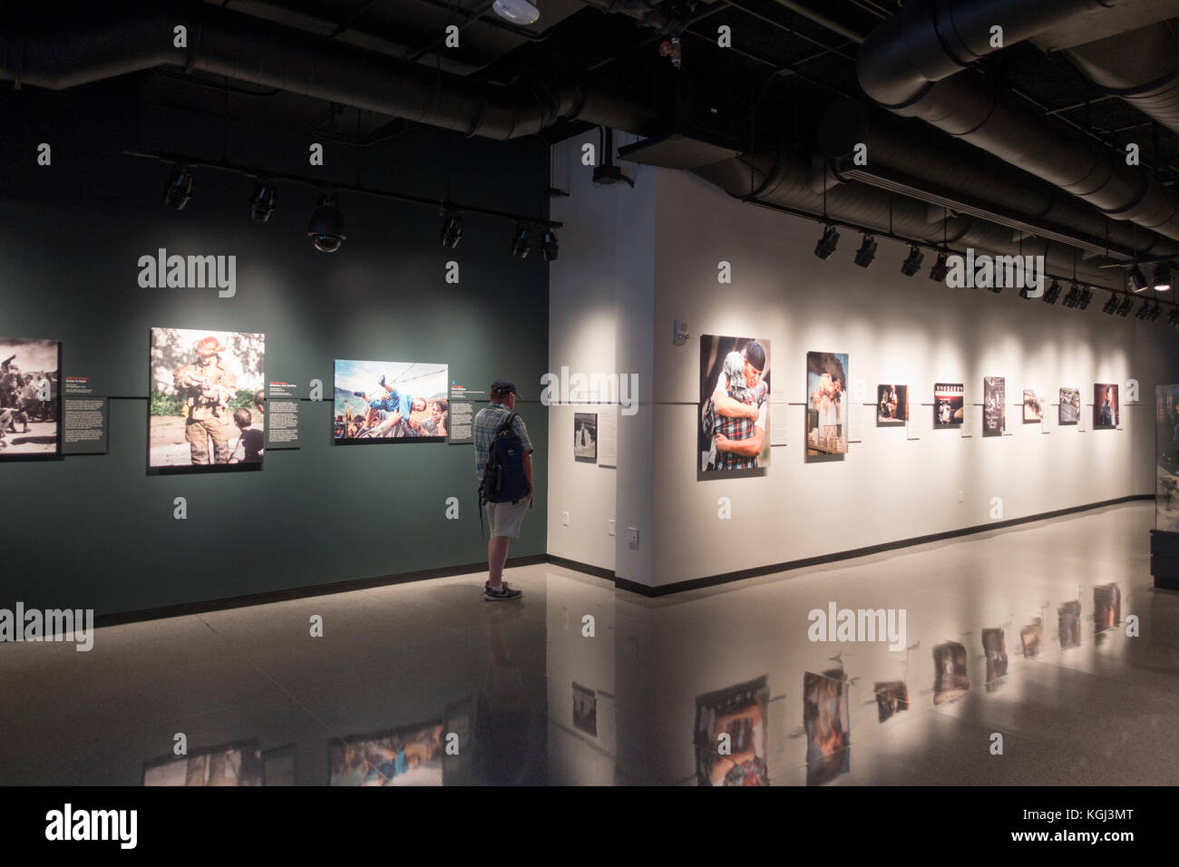 Stunning historical photography on display in the Pulitzer Prize Photographs Gallery in Newseum, Washington DC, - Stock Image