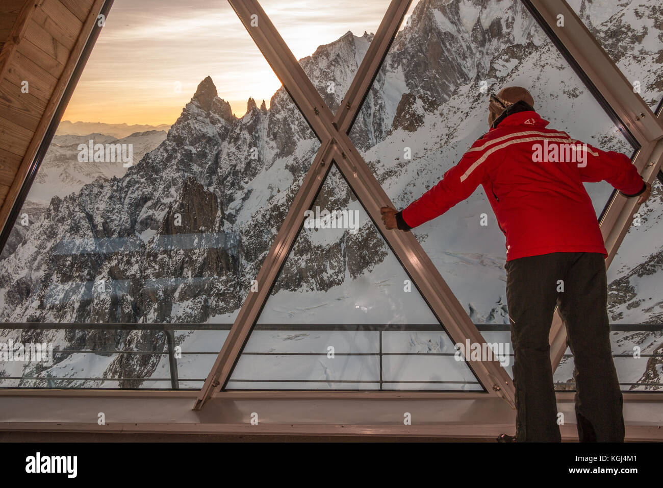 Skyway Monte Bianco Cablecar Views Mont Blanc Courmayeur Italy Alps Europe - Stock Image