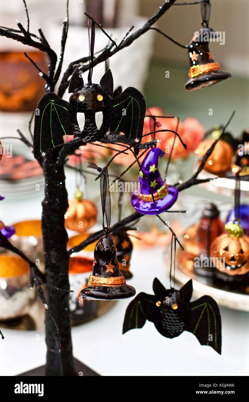 Indoor Halloween decorations in a family home Stock