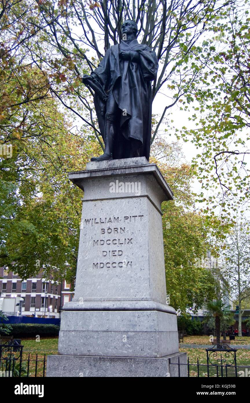 Bronze statue of William Pitt the Younger, Britain's youngest Prime Minister, erected 1831, Hanover Square, - Stock Image
