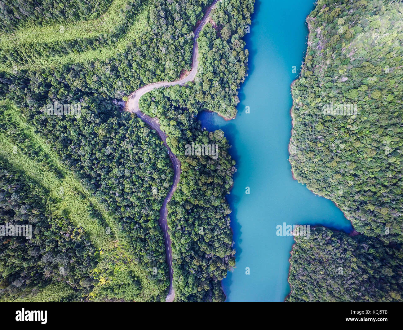 Drone view of a river in Sulawesi Indonesia - Stock Image