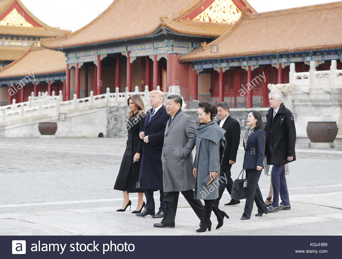 Beijing, China. 08th Nov, 2017. US President Donald Trump and wife Melania come to China for state visit in Beijing, - Stock Image