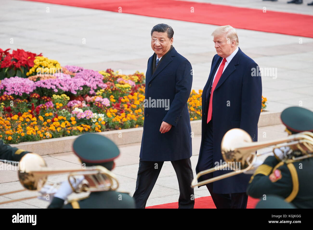 Beijing, China. 9th Nov, 2017. China's President Xi Jinping and US President Donald Trump (L-R back) during - Stock Image