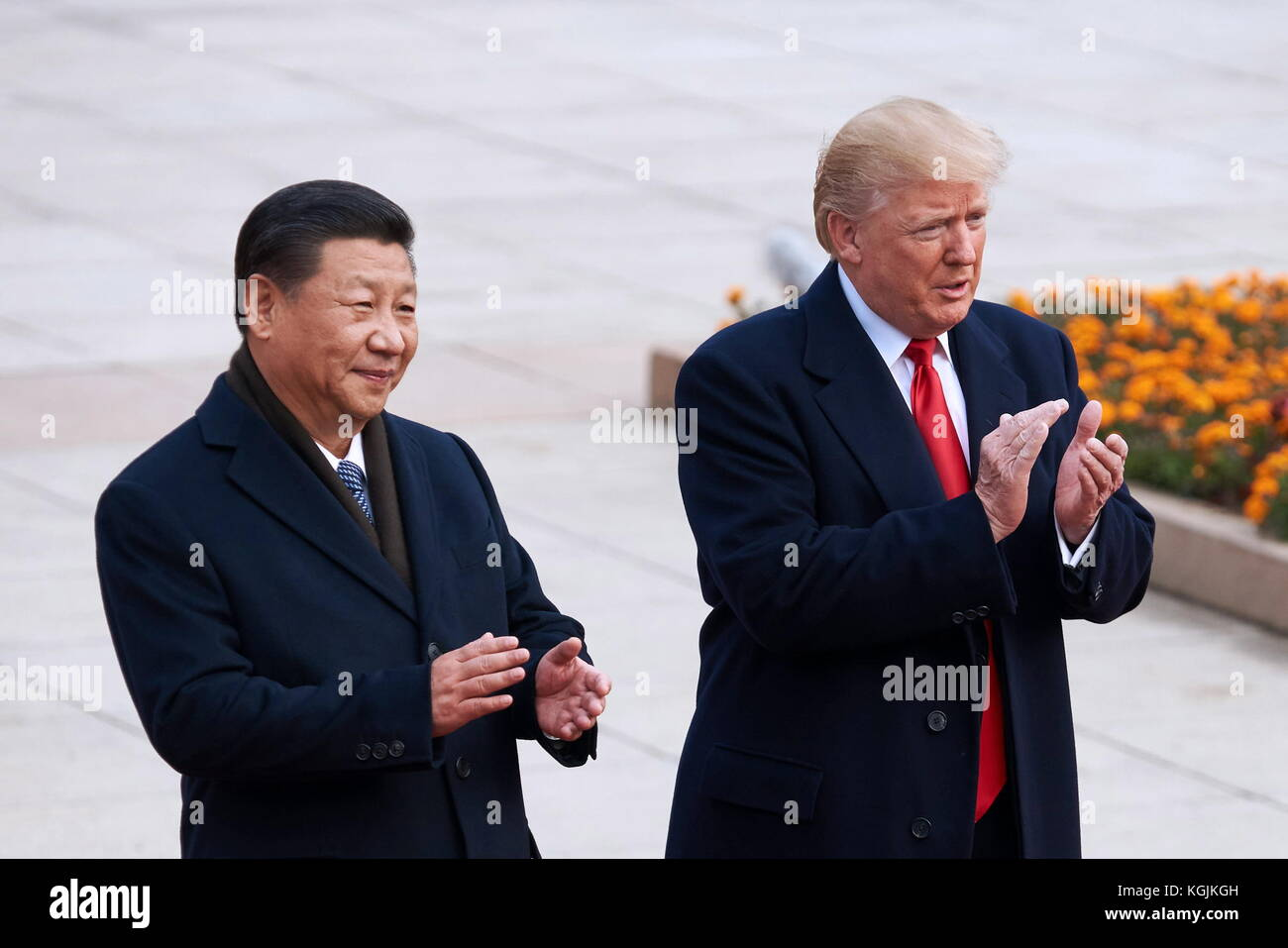 Beijing, China. 9th Nov, 2017. China's President Xi Jinping (L) and US President Donald Trump during a meeting - Stock Image