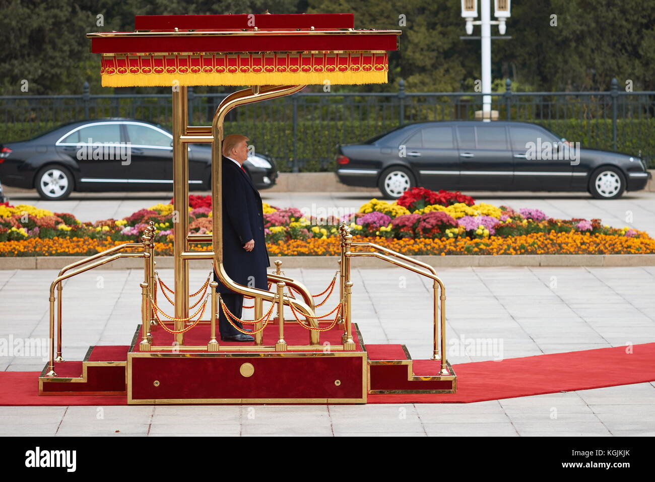 Beijing, China. 9th Nov, 2017. US President Donald Trump ahead of a meeting with China's President Xi Jinping - Stock Image