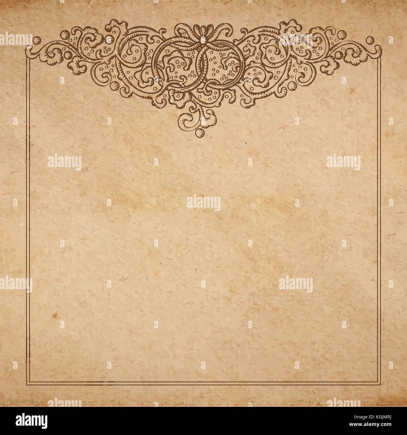 Vintage old paper texture with vector vignette with Medieval ornament, hand drawn floral decorative frame with wedding - Stock Image