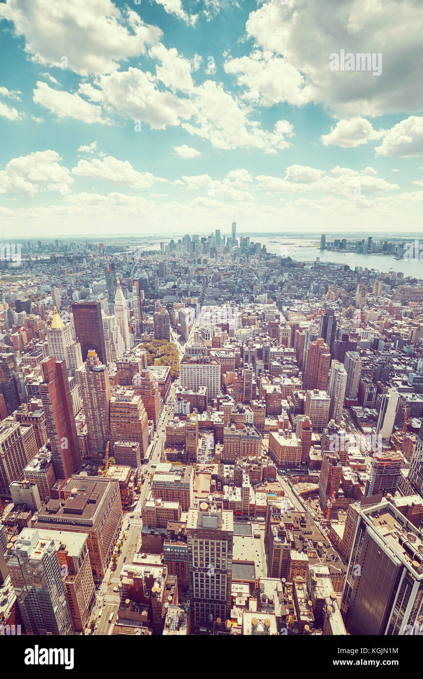 Vintage toned wide angle aerial picture of New York City Manhattan skyline, USA. - Stock Image