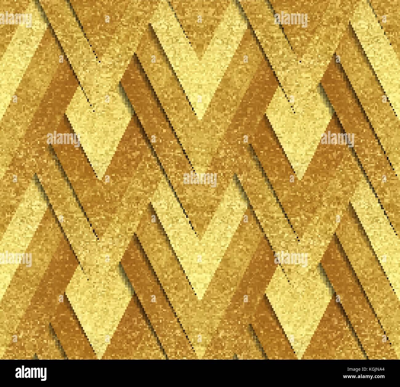 Vector seamless pattern - metallic gold paper cut at geometric ...