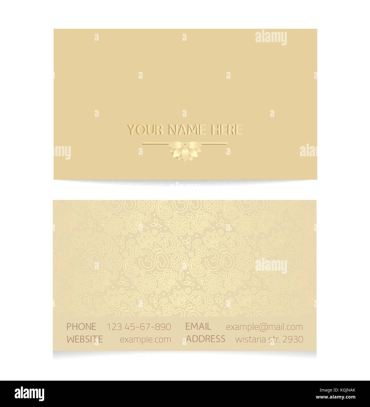 Vector golden horizontal business card template gold silk print of vector golden horizontal business card template gold silk print of front and back sides lotus and paisley ornament with copy space reheart Image collections