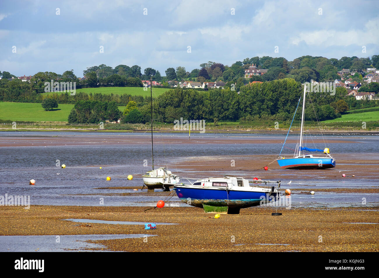 A view from 'the Point' at Exmouth across the Exe Estuary towards the National Trust property 'A La - Stock Image