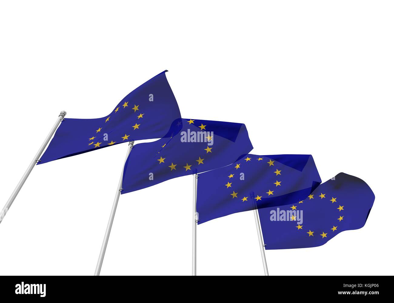 European Union flags in a row with a white background. 3D Rendering - Stock Image