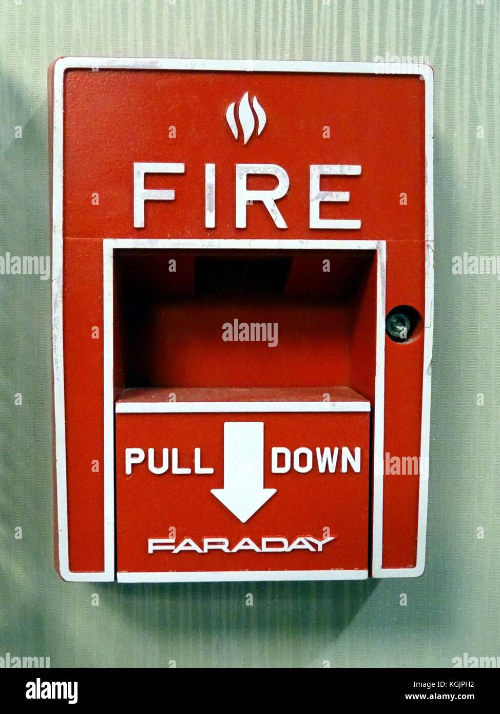 A close up view of a fire alarm - Stock Image