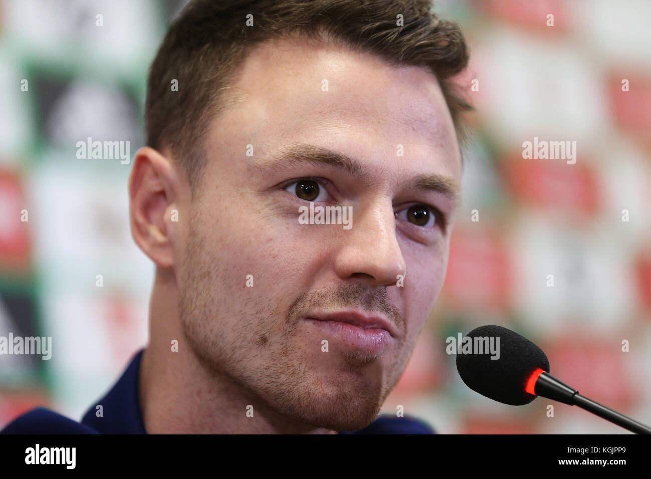Northern Ireland's Jonny Evans during the press conference at Windsor Park, Belfast. PRESS ASSOCIATION Photo. - Stock Image