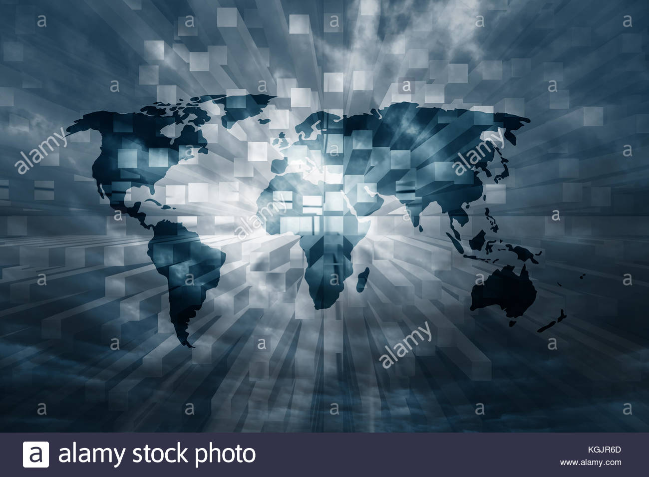 Dark blue tech background world stock photos dark blue tech dark blue abstract world map with binary numbers background stock image gumiabroncs Gallery