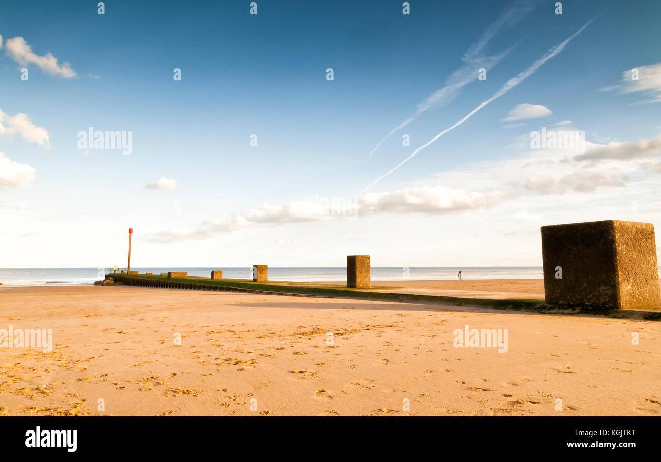 Beach scene,Sutton on Sea, Mablethorpe, East Coast, England - Stock Image