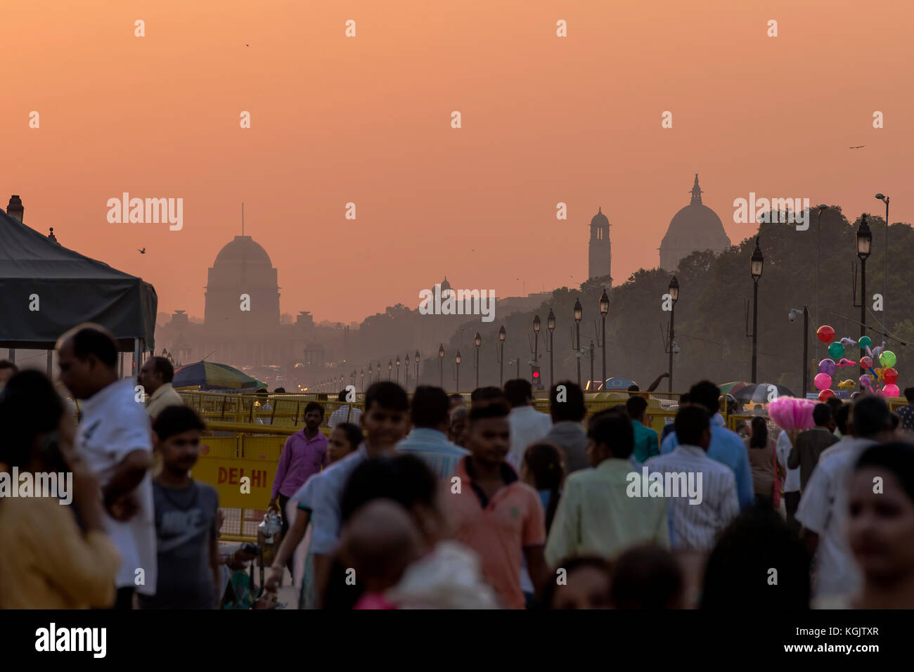 Sunset over the government buildings, New Delhi, India - Stock Image