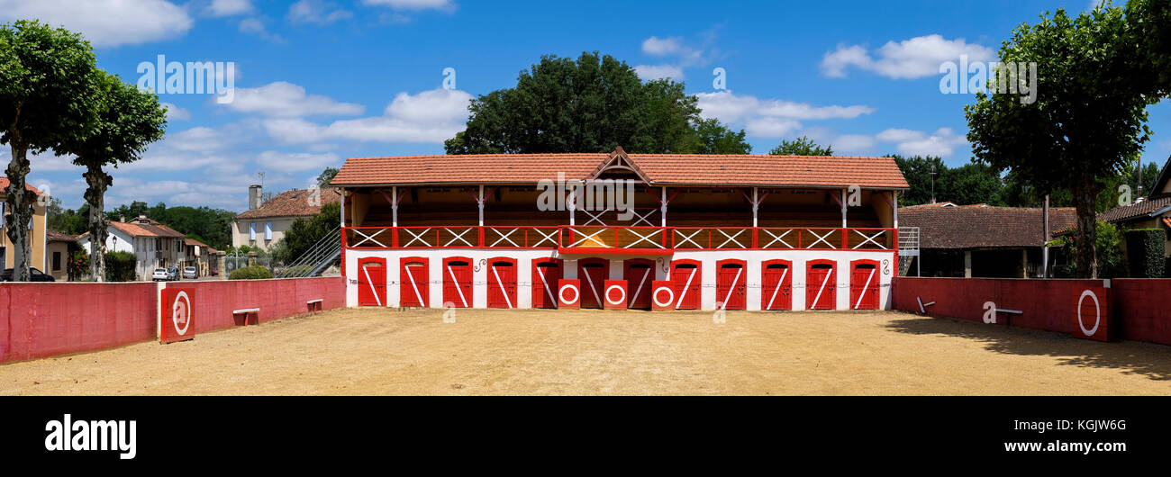 Bullring Manciet France where la Course Landaise is practised a form of bullfighting where the object is to avoid Stock Photo