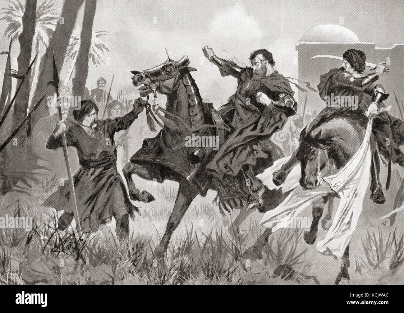 The death and defeat of Sebastian I at The Battle of Alcácer Quibir aka Battle of Three Kings or Battle of - Stock Image