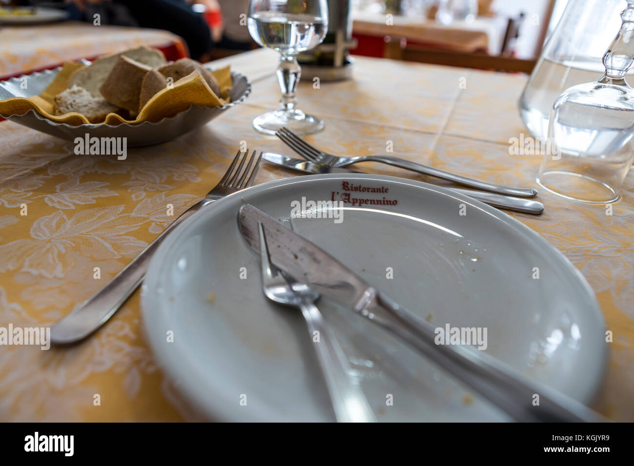 Hotel and restaurant L'Appennino, on the summit of the San Pellegrino Pass. Province of Lucca. Italy. Stock Photo