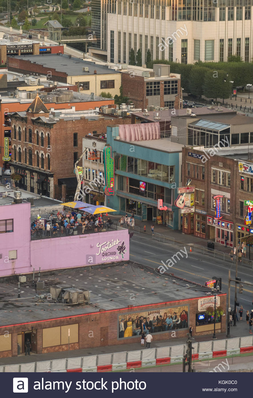 Aerial view of lower Broadway entertainment district with rooftop bars, restaurants and entertainment venues for - Stock Image