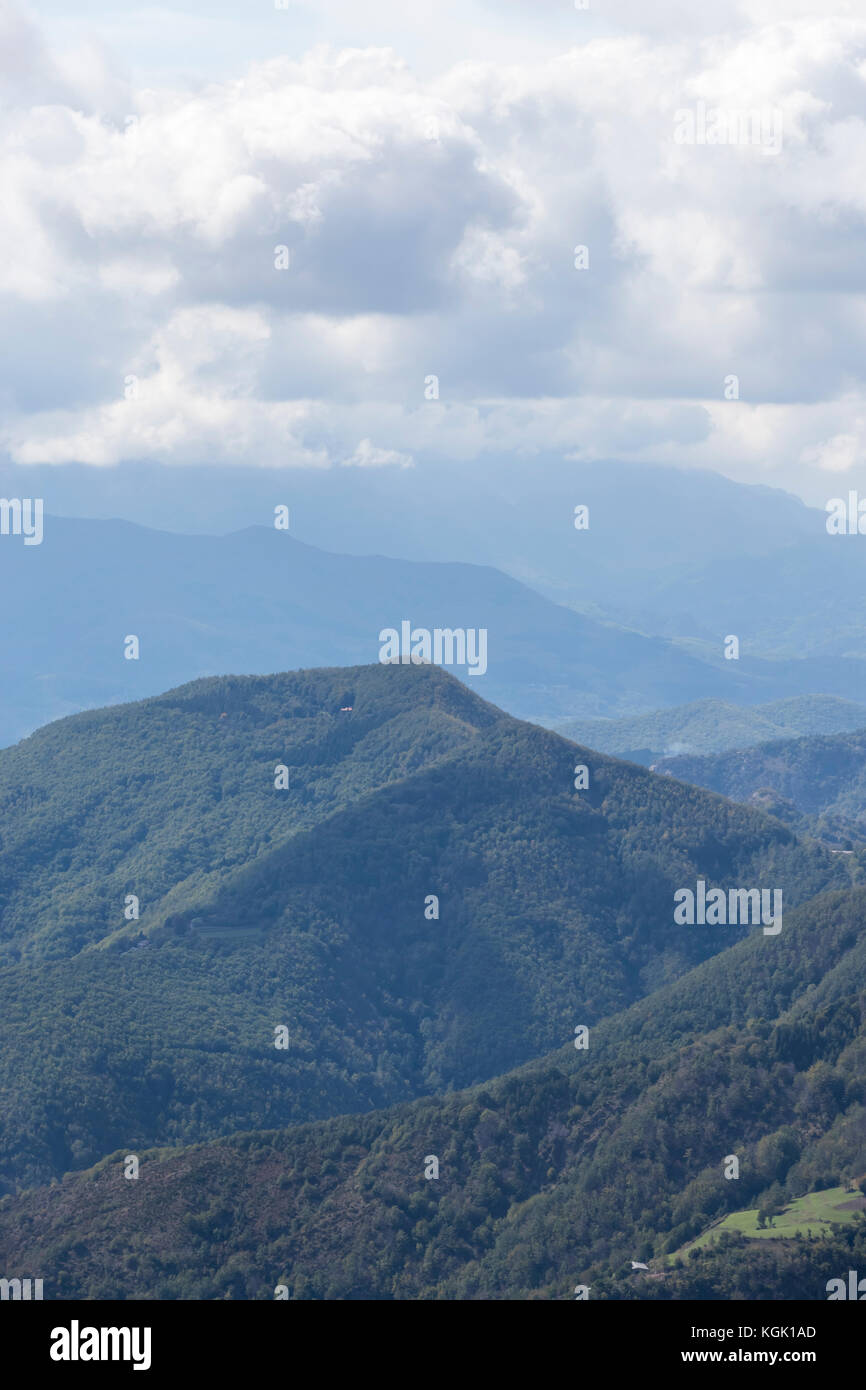 Mountain views of the Alps from the San Pellegrino in Alpe Pass, province of Lucca, Italy Stock Photo