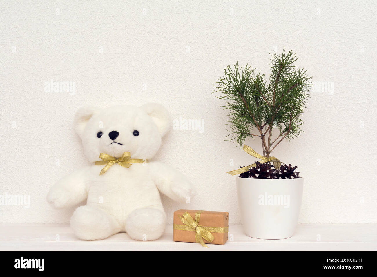 Concept Of Interior Decor White Bear Toy For Baby Gift Box Fir