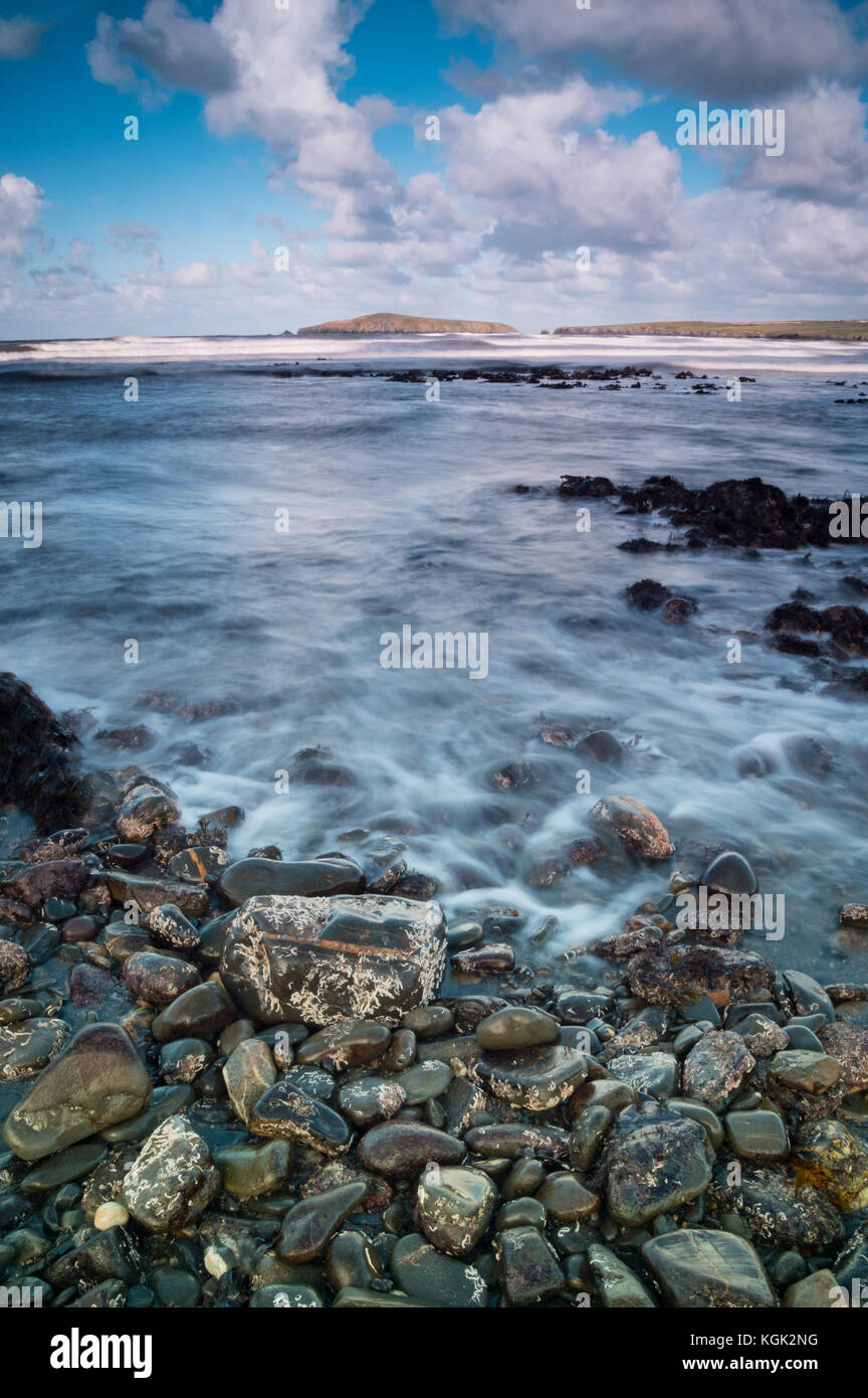 Poppit sands view towards Cardigan island on the west coast of wales near Cardigan - Stock Image