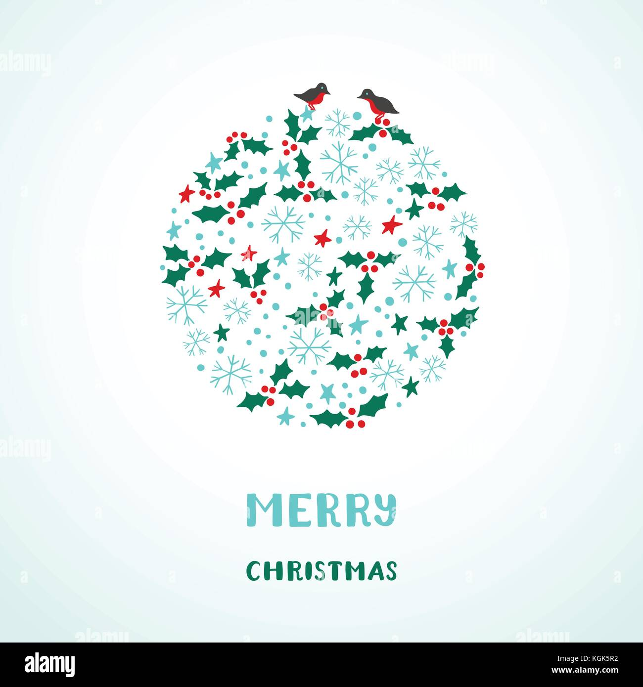 Christmas card with snowflakes, stars, birds and holly Stock Vector