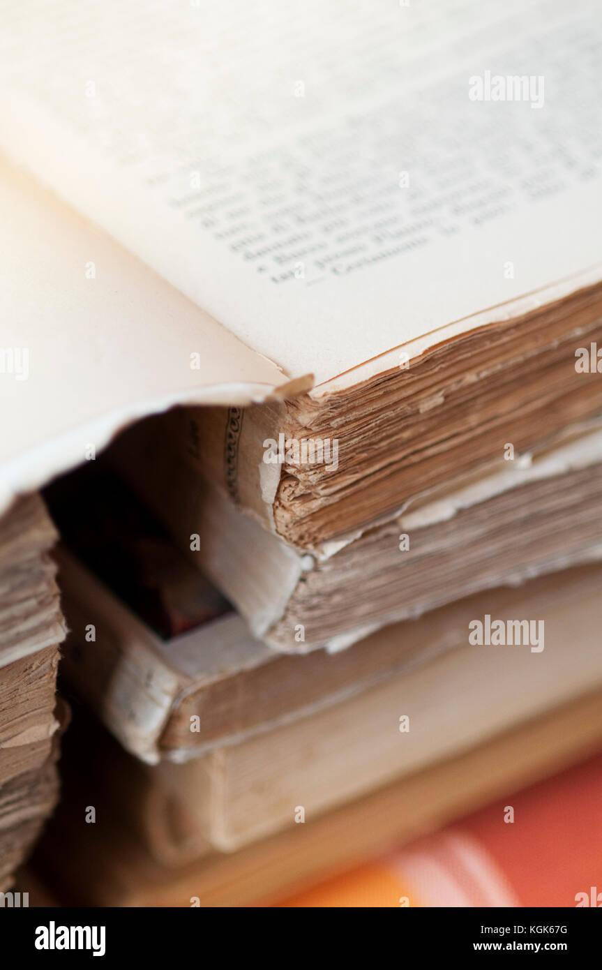 Italian Flea Market, Old Books Pile - Stock Image
