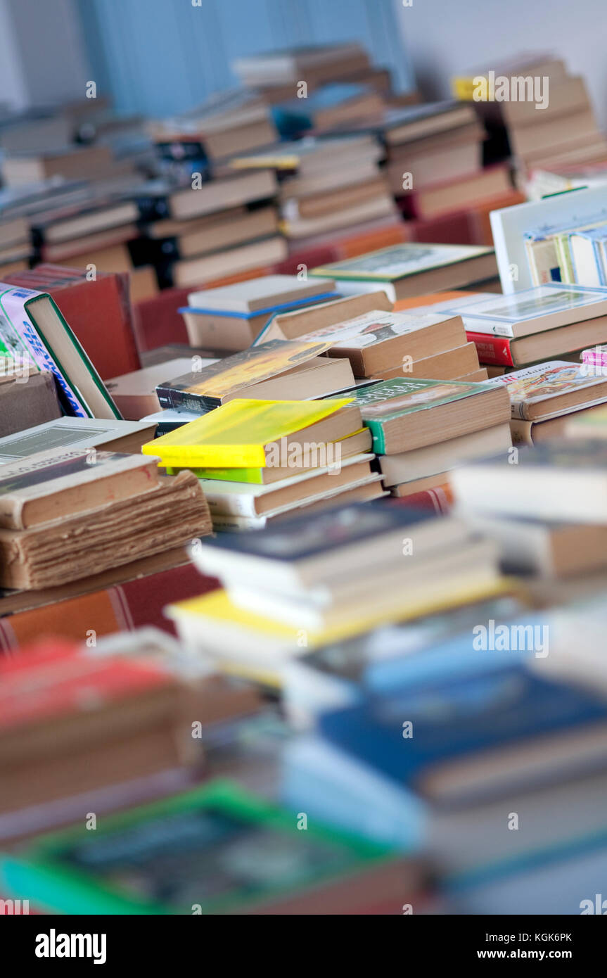 Italian Flea Market, Old Books Pile - Stock Image